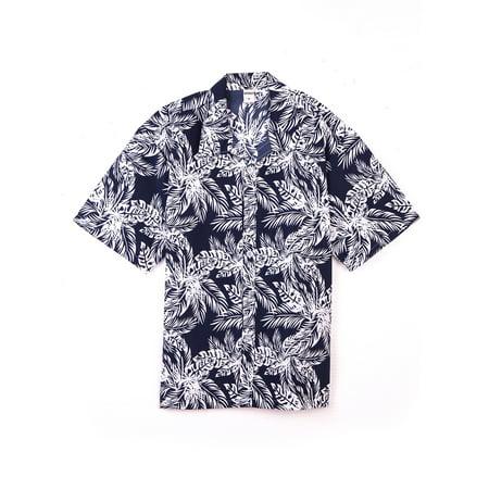 SAYFUT Men's Hawaiian Print Shirt Big Mens Tropical Shirts Foral Print Beach Shirts Button Down Short -