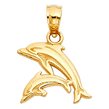 Fancy Dolphin Mother & Duaghter or Son 14k Yellow Solid Italian Gold Charm Mother's Day Pendant Gift Idea