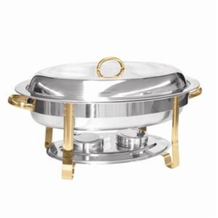 Oval Stainless Steel Chafer (Excellanté Stainless Steel 6 Quart Gold Accented Oval)
