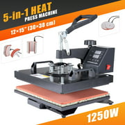 "12""x15"" Heat Press 360 Degree Swivel Heat Press Machine 5 in 1"