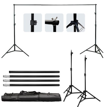 Photo Stand In (Zimtown 6.5*10 Ft Adjustable Background 2 Support Stand Photo Backdrop 4 Crossbar)