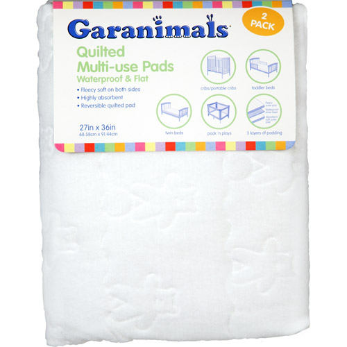 Garanimals - Quilted Waterproof Multi-Use Crib Pad, Set of 2