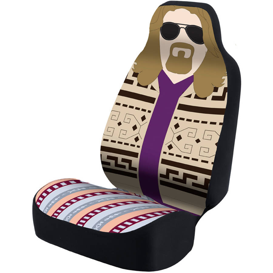 Coverking Universal Seat Cover Fashion Print, Ultra Suede, The Big Lebowski, The Dude with Black Interlock Backing