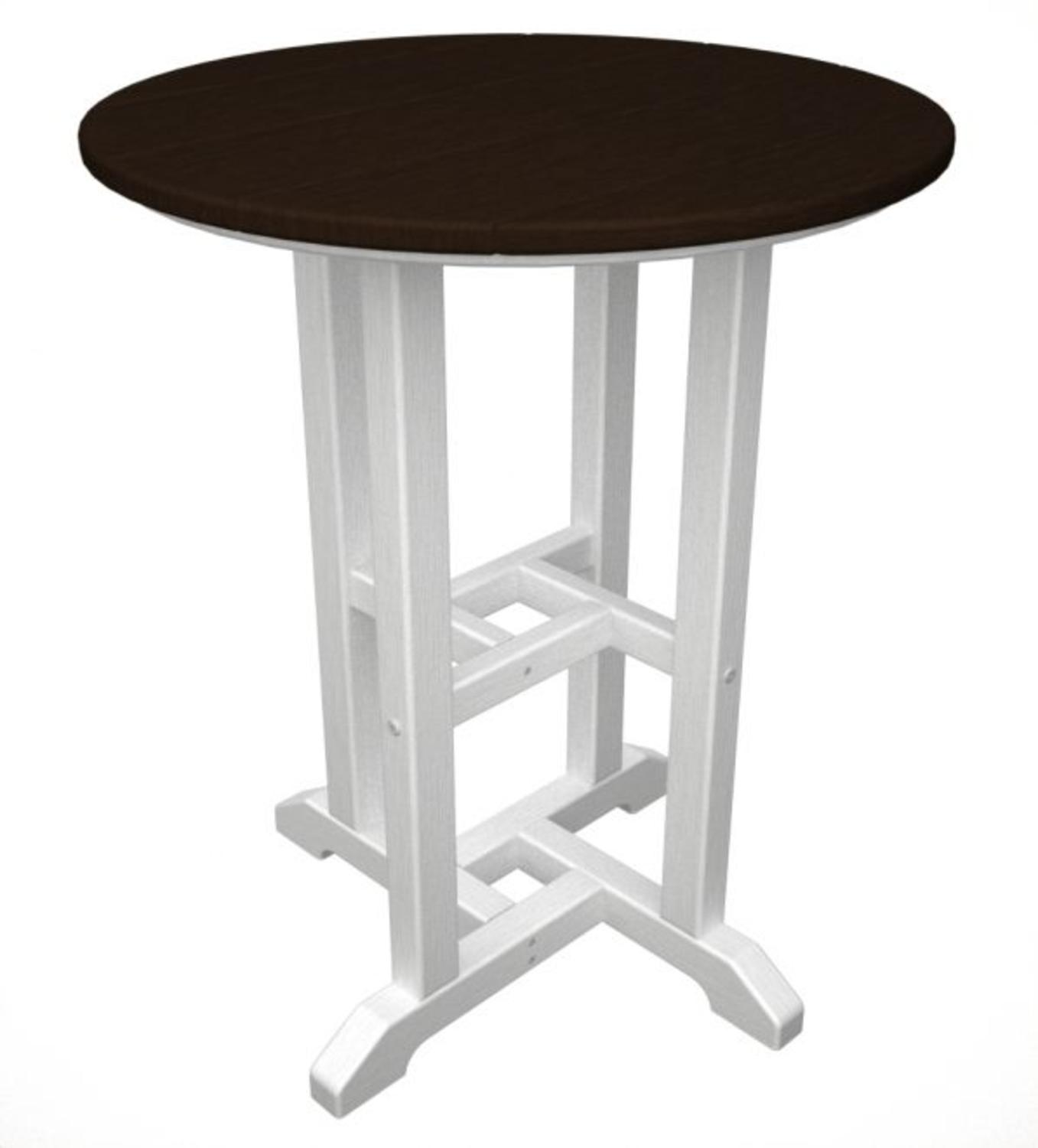 """24"""" Recycled Earth-Friendly Outdoor Patio Bistro Table - White & Chocolate Brown"""
