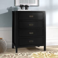 Annabelle Four Drawer Solid Wood Black Chest of Drawers by Chateau Lyon
