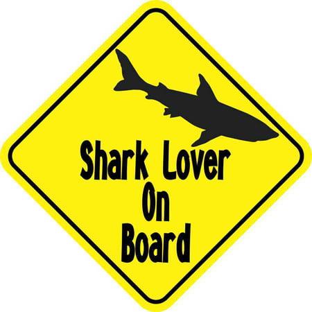 Shark Magnet (6in x 6in Shark Lover On Board Magnet Car Truck Vehicle Magnetic Sign)