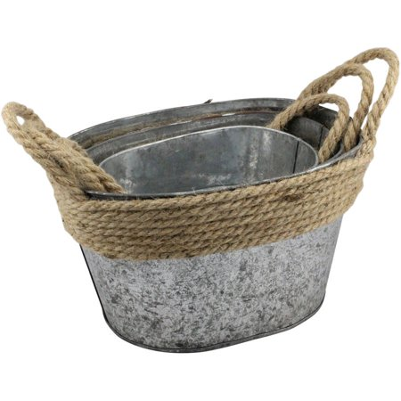 Stonebriar Collection Nesting Galvanized Metal Storage Baskets with Rope Trim and Handles, Set of 3](Metal Containers)