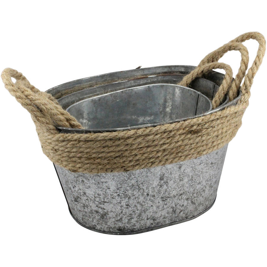 Stonebriar Collection Nesting Galvanized Metal Storage Baskets with Rope Trim and Handles, Set of 3