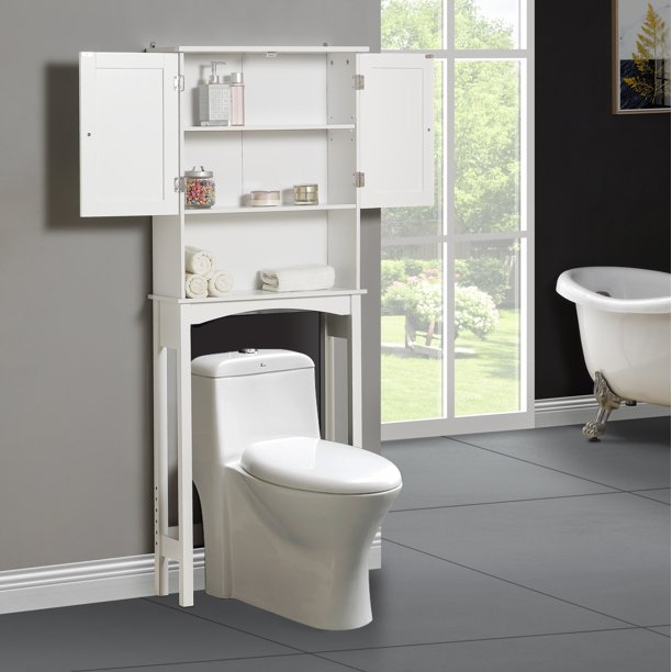 Enyopro Bathroom Above Toilet Cabinet White Mdf Storage Cabinet Bathroom Storage Space Saver With Adjustable Shelf Double Door Cabinet Over The Toilet Storage For Bathroom K2238 Walmart Com Walmart Com