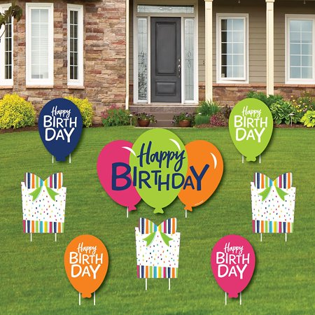 Cheerful Happy Birthday - Yard Sign and Outdoor Lawn Decorations - Colorful Birthday Party Yard Signs - Set of 8  - Signs Of Birthday