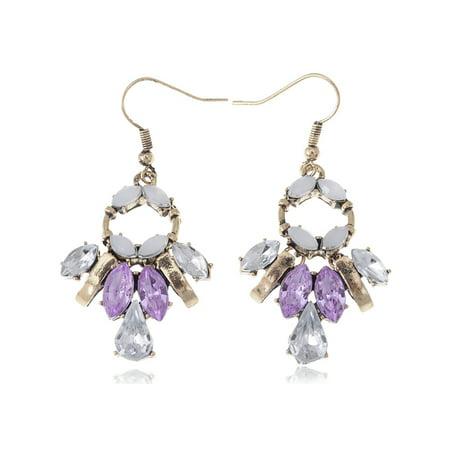 Golden Tone Tribal Geometric Pastel White Pink Crystal Rhinestone Drop Earrings