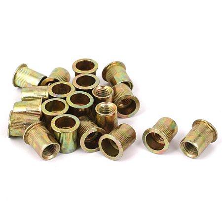 3/8 -16  Flat Head Rivet Nut  Insert Nutsert Gold Tone 20pcs