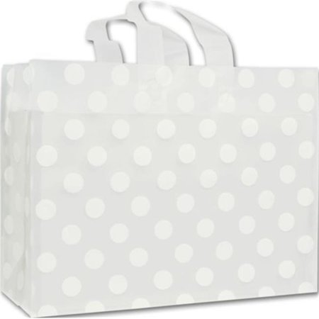 Bags   Bows By Deluxe 268 160612 Dotc White Dots Clear Frosted Flex Loop Shoppers   Case Of 100