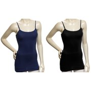 Womens 2Pack Black/Navy Cotton Tank Top Camisole Spaghetti Strap (Small)