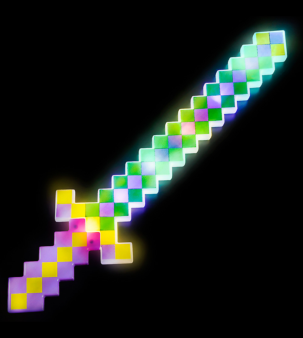 Lumistick 24 Inch Light-up Diamond Pixel Sword Green /& Purple