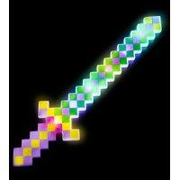 "Lumistick 24"" Light-Up Flashing LED Green and Purple Diamond Pixel Sword, 1 piece"