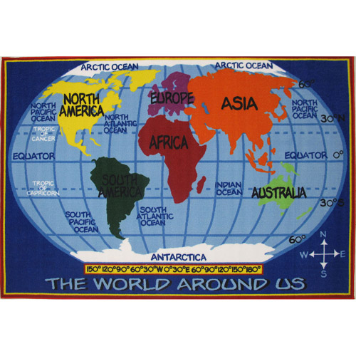Fun Rugs Children's Fun Time Collection, World Map
