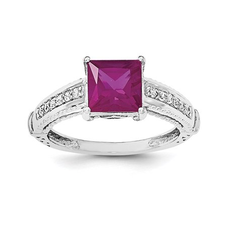 Roy Rose Jewelry Sterling Silver Synthetic Ruby And Cz Ring   Size 6