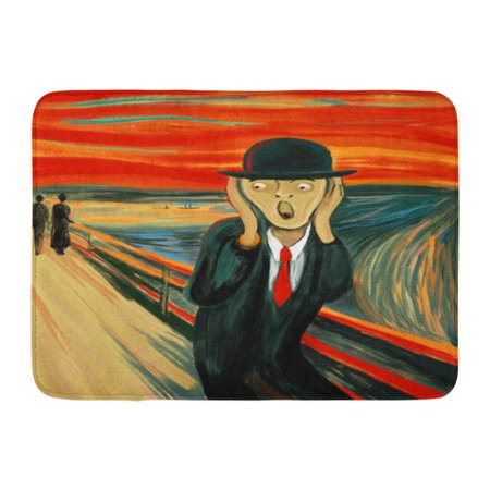 GODPOK Painting Red Brushes Digital Variation of The Famous Artwork Screaming Man Colors Emotional Rug Doormat Bath Mat 23.6x15.7 inch - Screaming Doormat