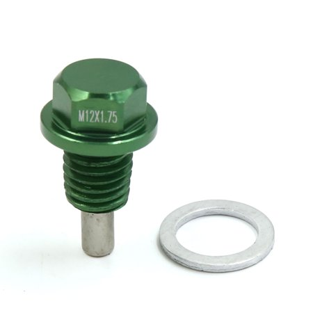 M12 x 1.75 Green Aluminum Alloy Magnetic Engine Oil Pan Drain Bolt Screw for Car ()