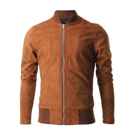 FLATSEVEN Mens Zip up Faux Suede Classic Baseball Bomber Varsity Jacket