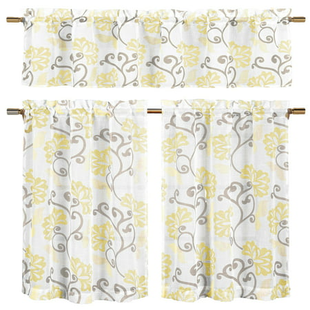 Ardent Designs Vines - Bathroom and More Collection Yellow, Taupe and Off-White 3-Piece Sheer Window Curtain Set: 1 Valance, 2 Café/Tiers, Floral Vine Design (24