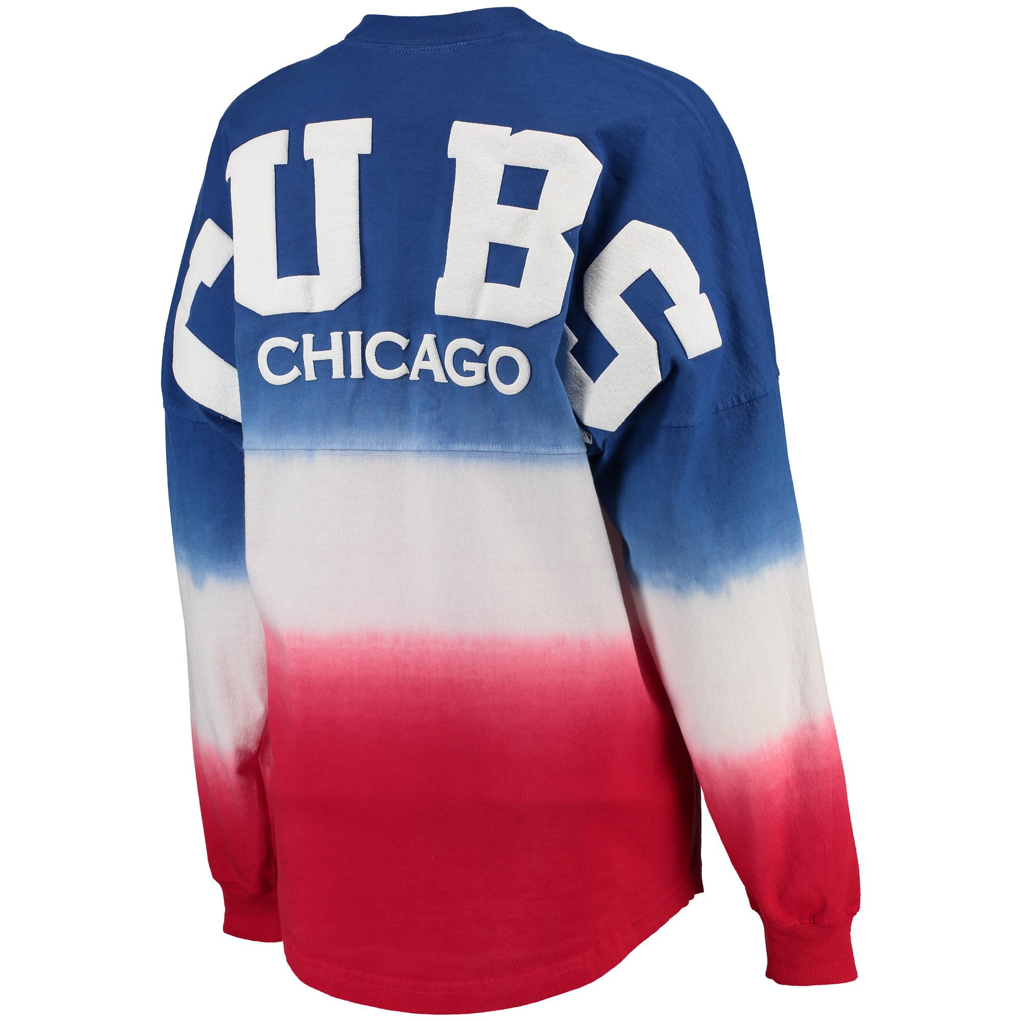 ce01c46dd4b17 Chicago Cubs Women's Oversized Long Sleeve Ombre Spirit Jersey T-Shirt -  Royal - Walmart.com