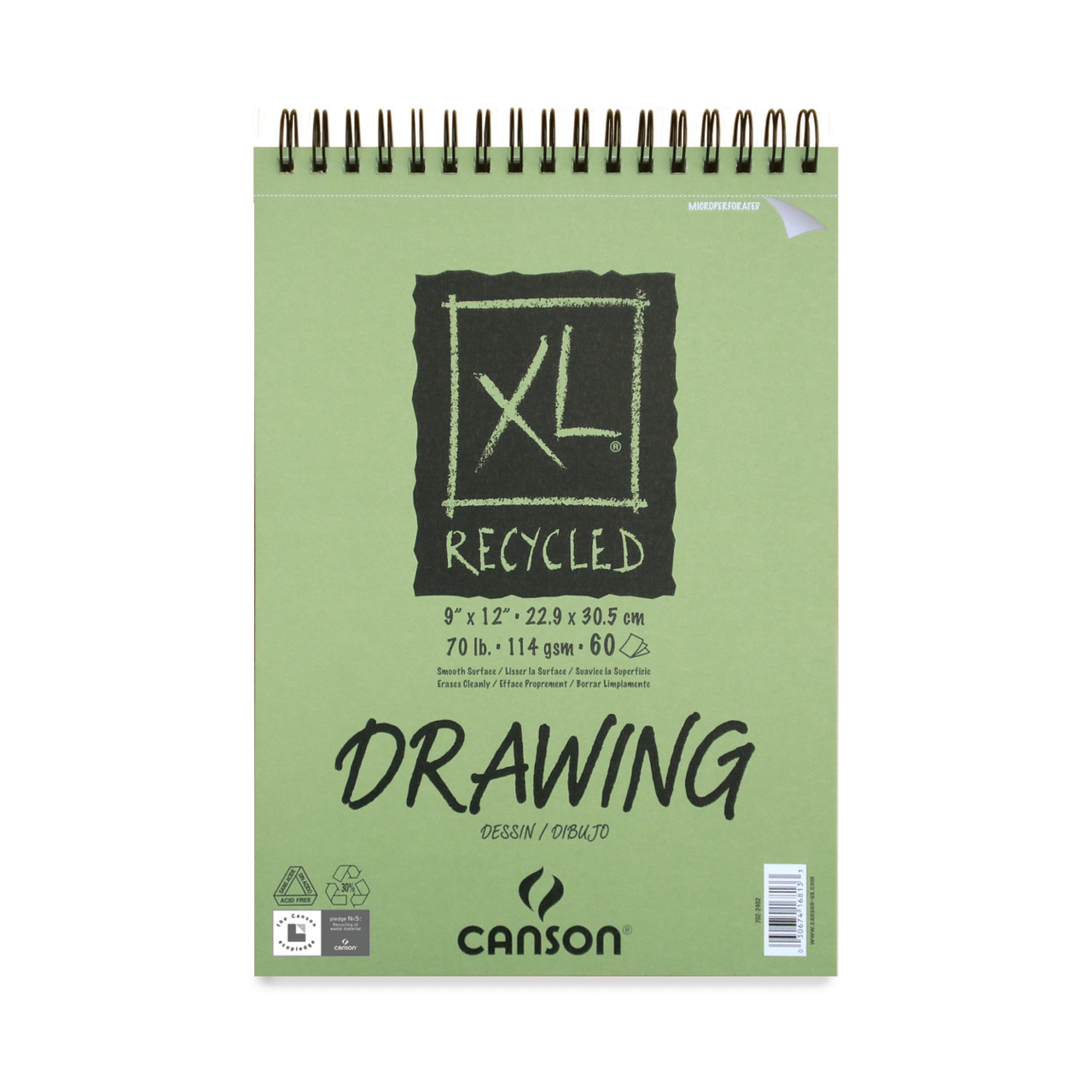 """Canson XL Recycled Paper 9"""" x 12"""" 60 Sheet Drawing Pad, 1 Each"""