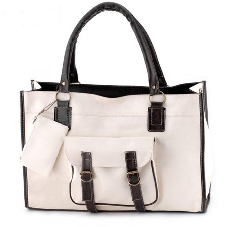 Woman PU Leather Handbag Large Shoulder Messenger Bag Large Capacity Tote Bag with Side Pockets