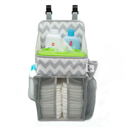 Playard Diaper Caddy and Nursery Organizer for Newborn Baby Essentials, Chevron Pattern, Grey & White, Baby Accessory Organizer by California Home Goods ()
