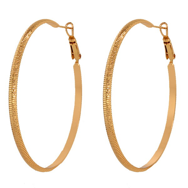 "2"" Women Yellow Gold Plated Brass Diamond-Cut Hoop Earrings"