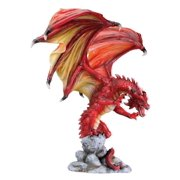 Large Red Attacking Dragon on Cliff Statue Figurine Mythical Fantasy Decoration