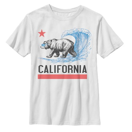Lost Gods California Republic Bear Surfing Boys Graphic T
