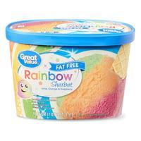 Great Value Fat Free Rainbow Sherbet, 48 fl oz