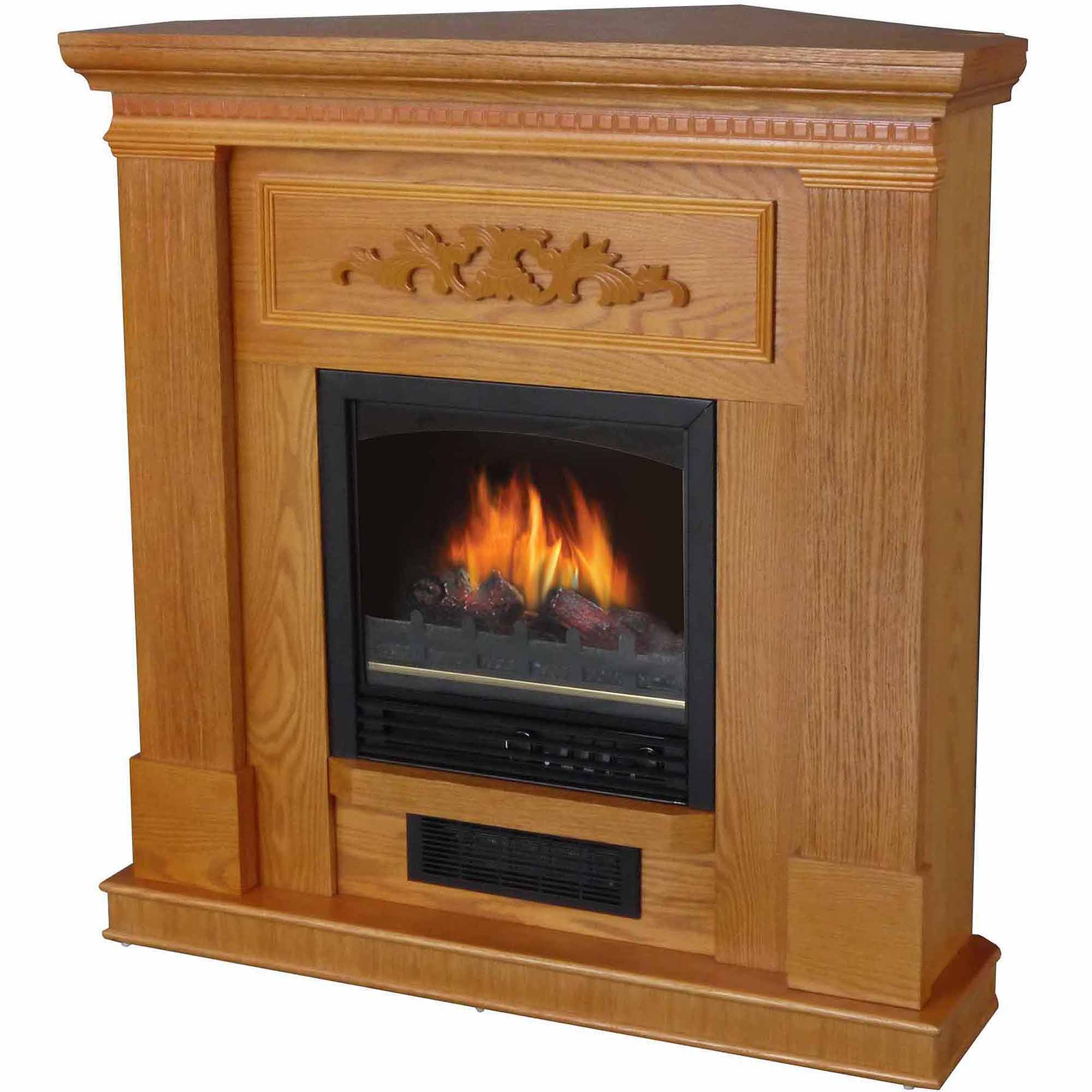 "Decor-Flame Electric Space Heater Fireplace with 38"" Mantle, Oak"