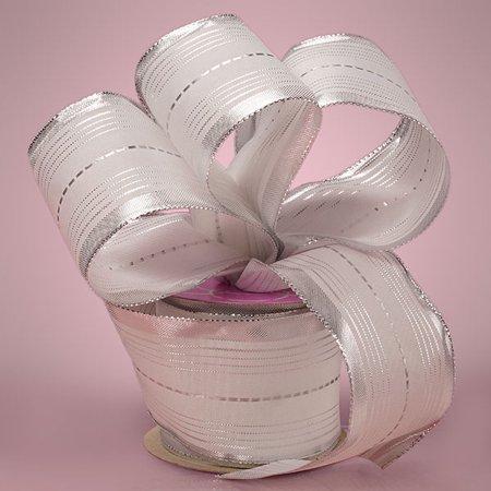 Elegant White 2-1/2 inches x 10 yards Silver Stripes Wedding Wired Decorative Ribbon
