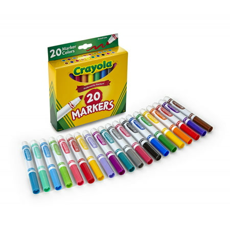 Crayola 20 Count Broad Line Classic Markers- Perfect For Back To School - Crayola Markers Bulk