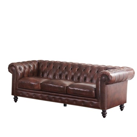 Devon & Claire Wright Traditional Chesterfield Leather Sofa, Brown