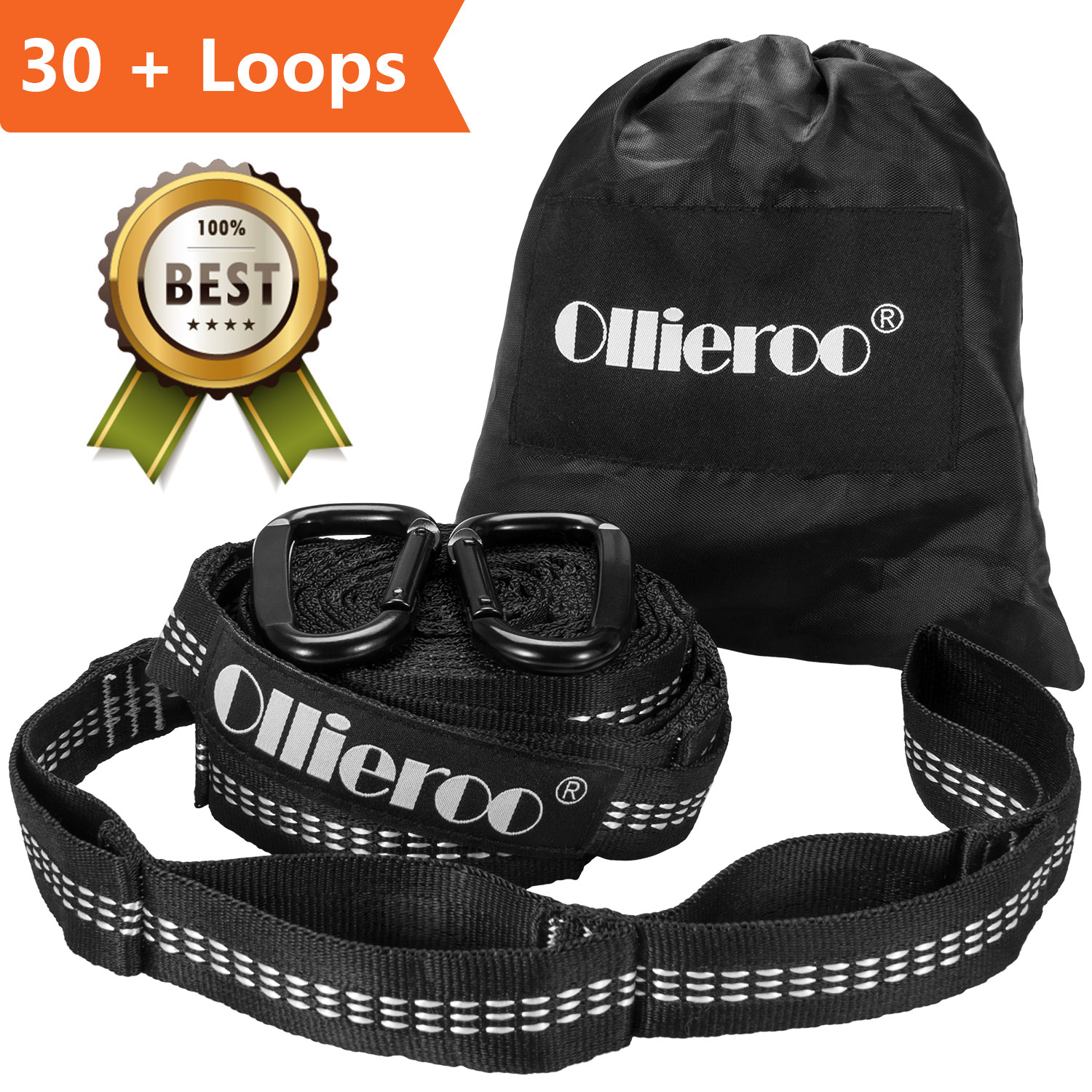 Ollieroo Hammock Tree Straps No Stretch Suspension System Kit Camping Hammock Security