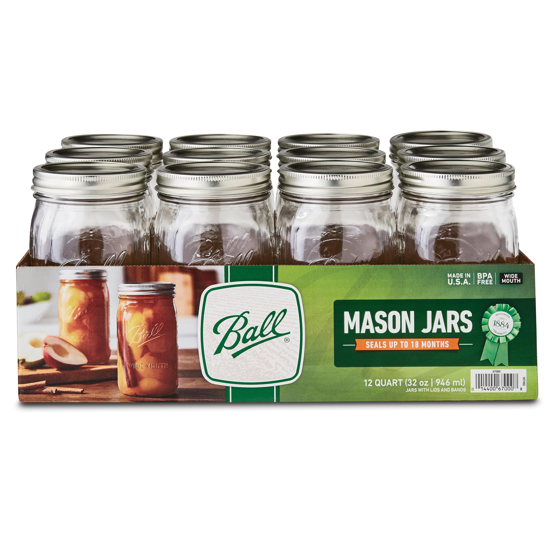 Ball Glass Mason Jars With Lids Bands Wide Mouth 32 Oz 12 Count Walmart Com Walmart Com