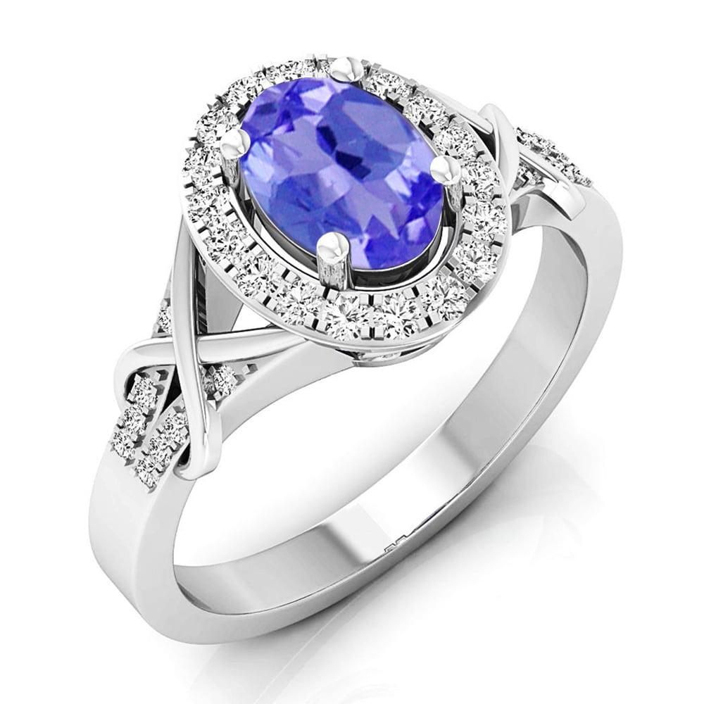 10K Gold Oval Cut Tanzanite & Round Cut Diamond Bridal Split Shank Halo Engagement Ring by DazzlingRock