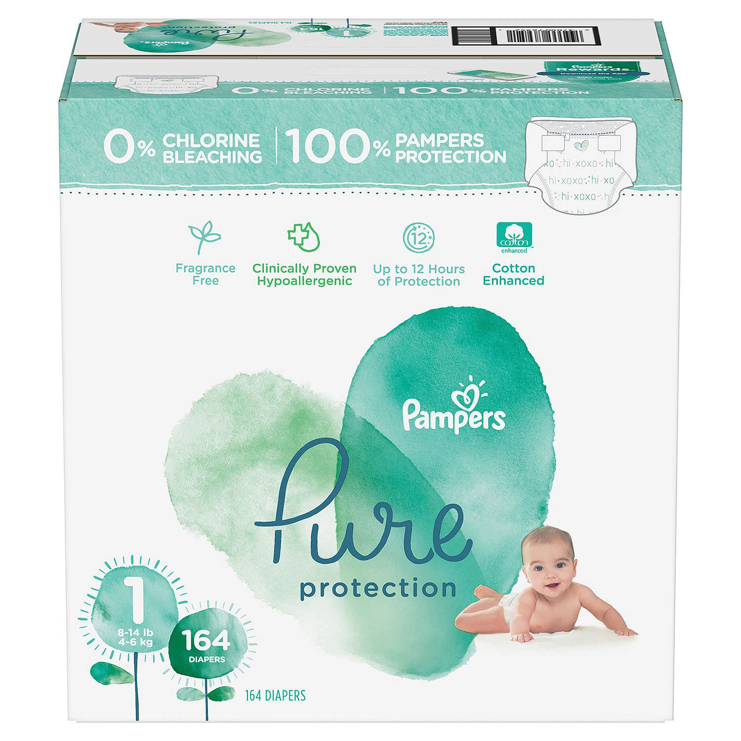 Pampers Pure Protection Diapers Size 1 - 164ct ( 8-14 lbs)
