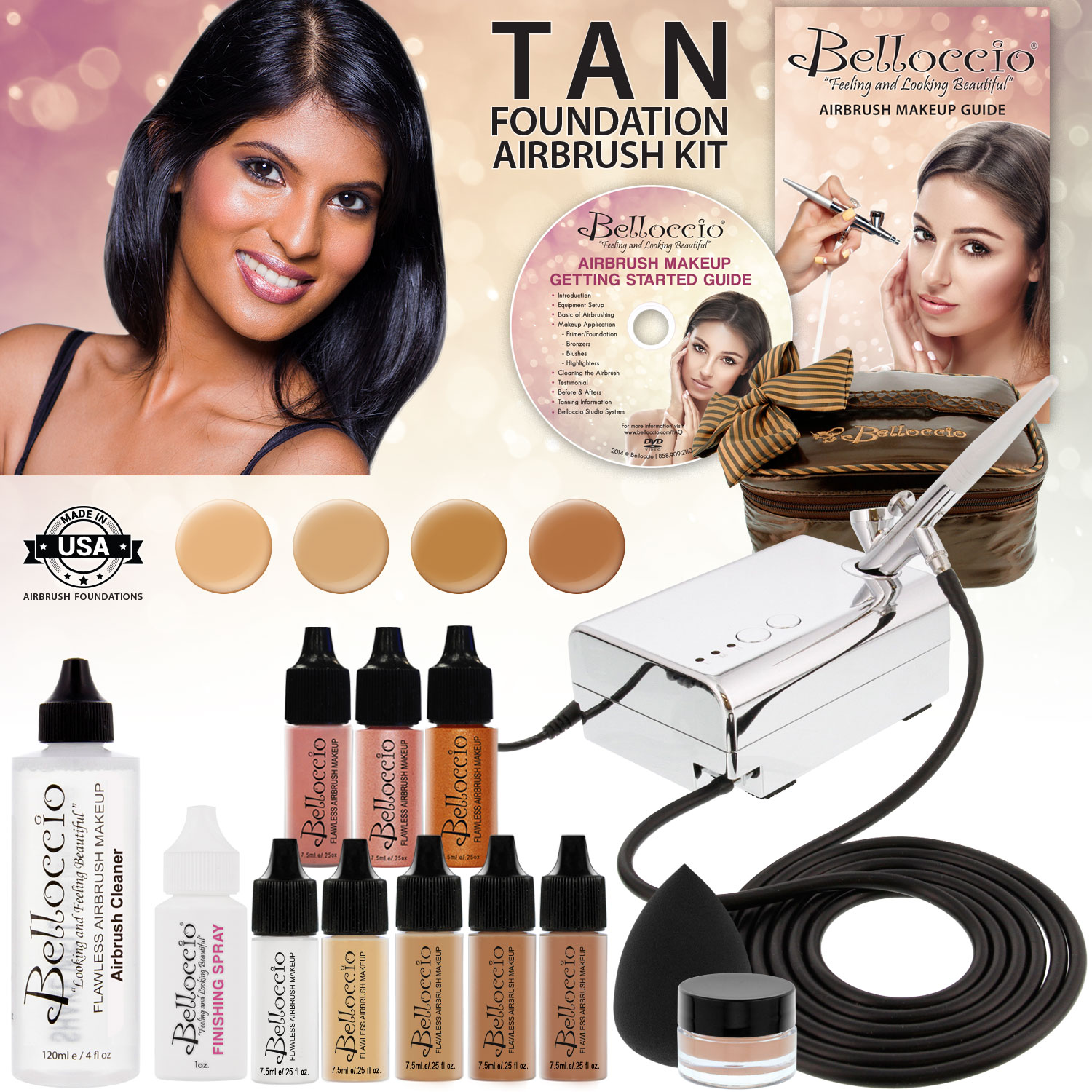 Belloccio Professional Tan Shade AIRBRUSH COSMETIC MAKEUP SYSTEM Holiday Kit Set