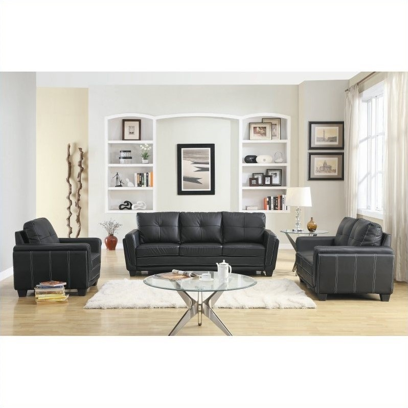 Lifestyle Solutions Hartford 3 Piece Microfiber Sofa Set in Black