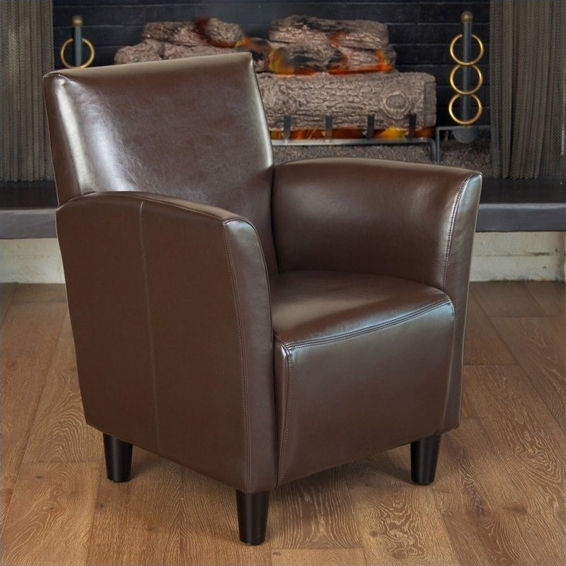 Trent Home Robin Leather Club Chair in Brown by Noble House