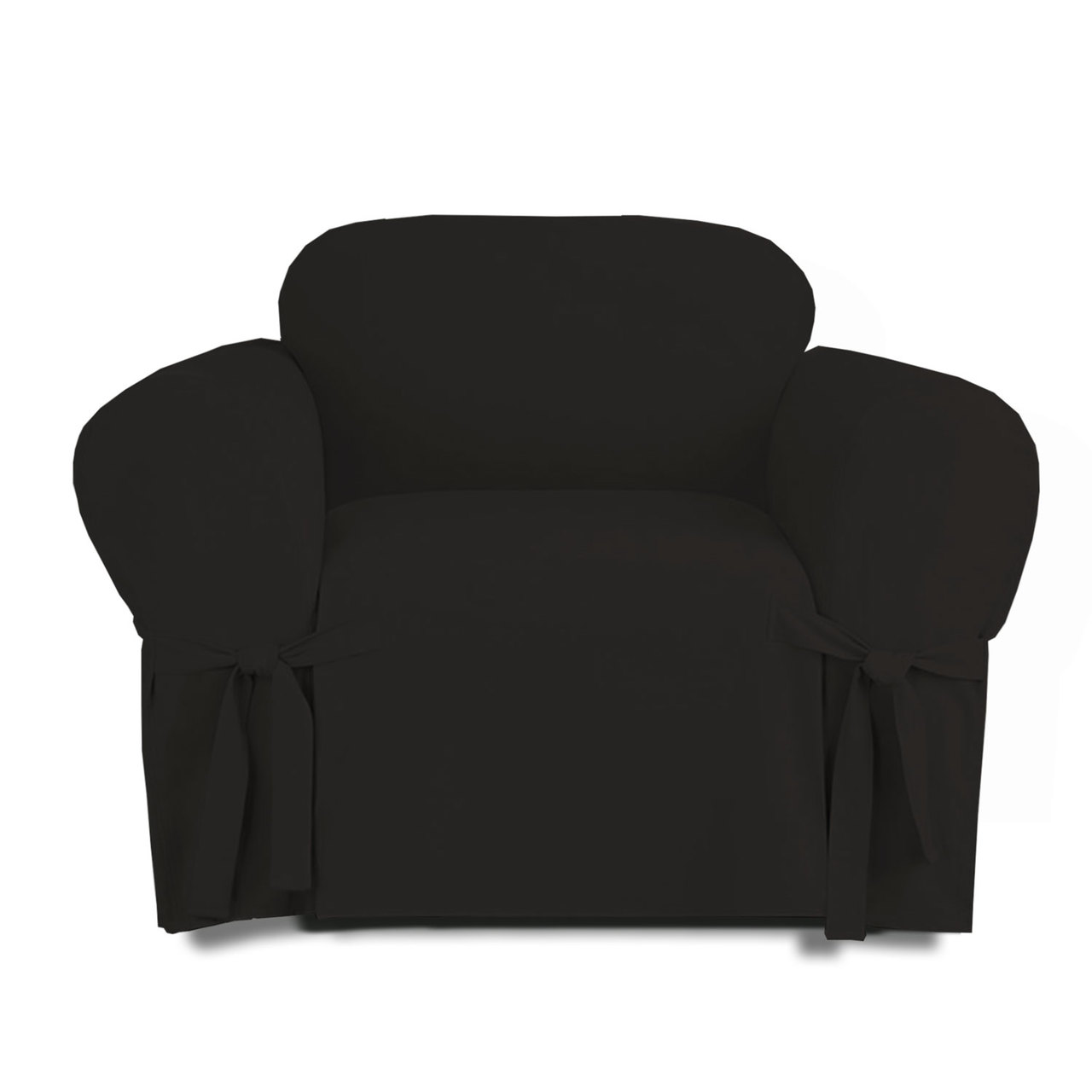 Linen Store Microsuede Furniture Slipcover (Chair, Black)