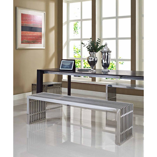 Modway Gridiron Benches Set of 3, Silver