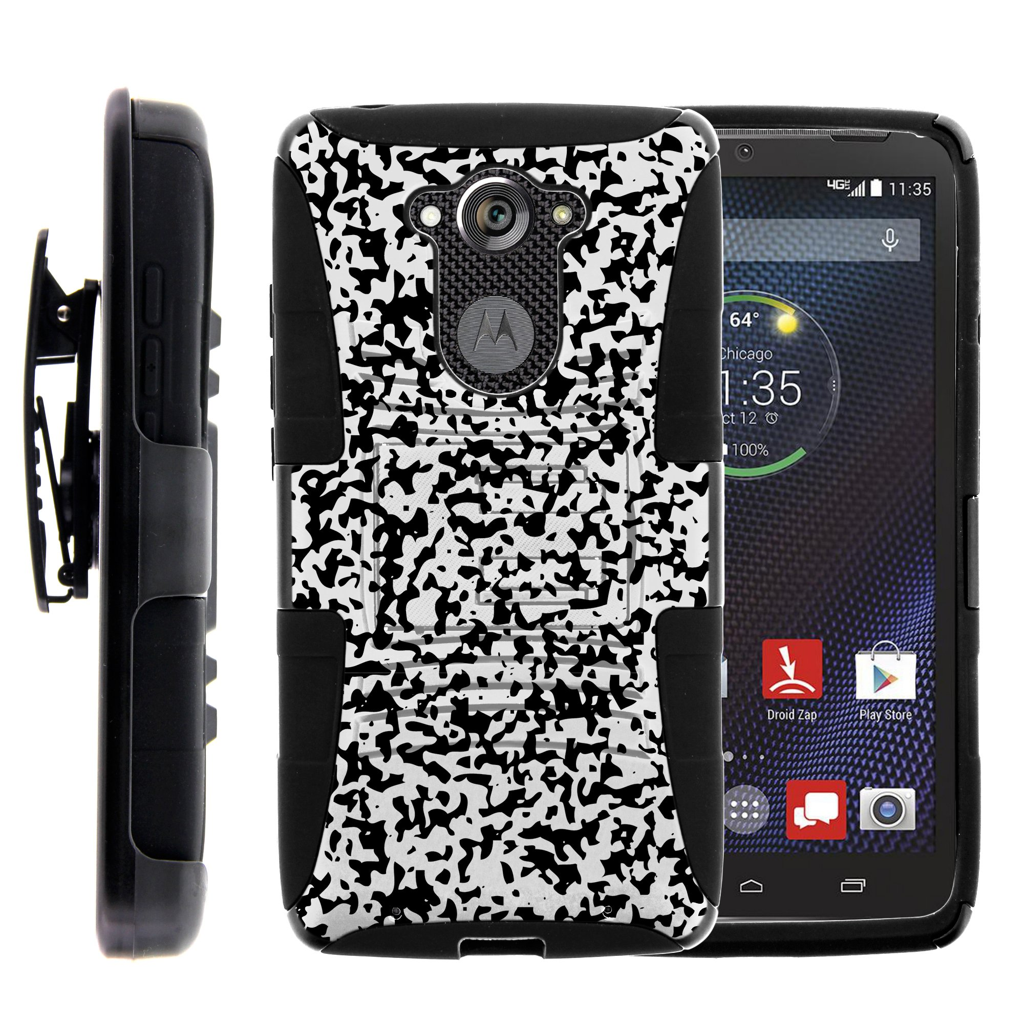 TurtleArmor ® | For Motorola Droid Turbo | Motorola Moto MAXX [Hyper  Shock] Hybrid Dual Layer Armor Holster Belt Clip Case Kickstand -  Dreamcatcher