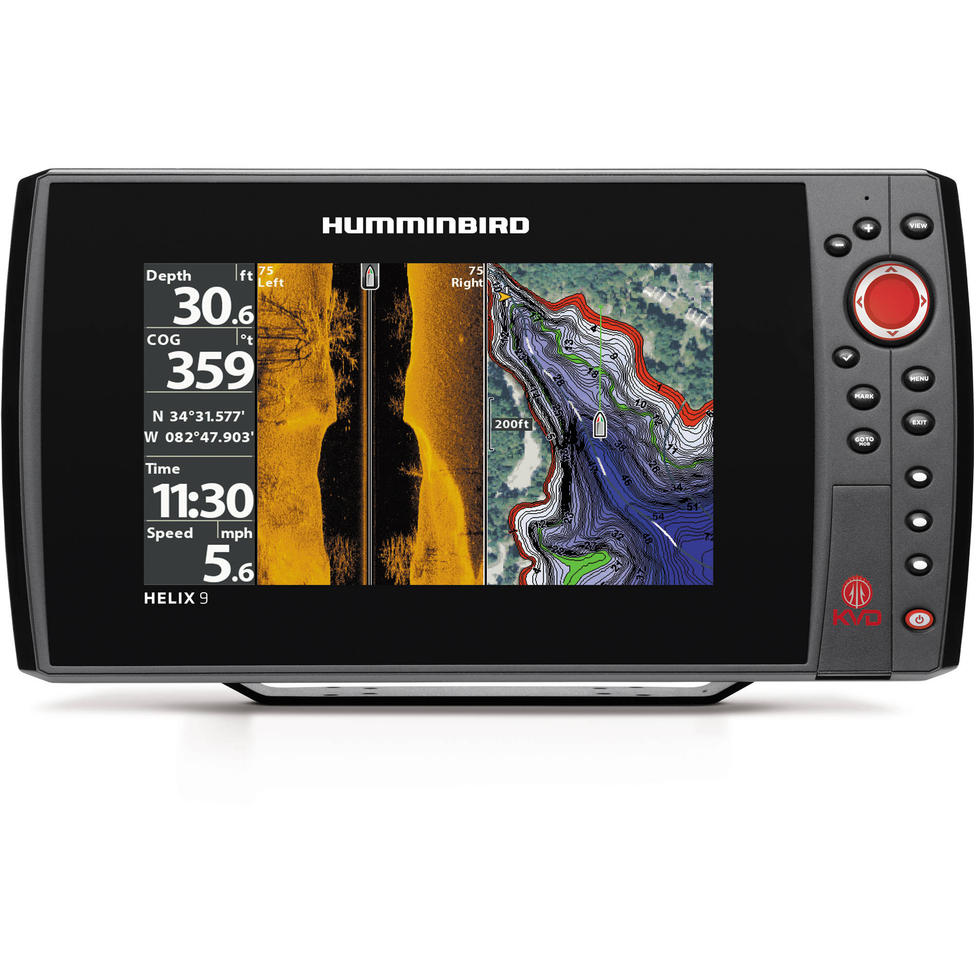 Humminbird HELIX 9 SI GPS KVD Fishfinder Combo with Side Imaging, Kevin Van Dam Edition