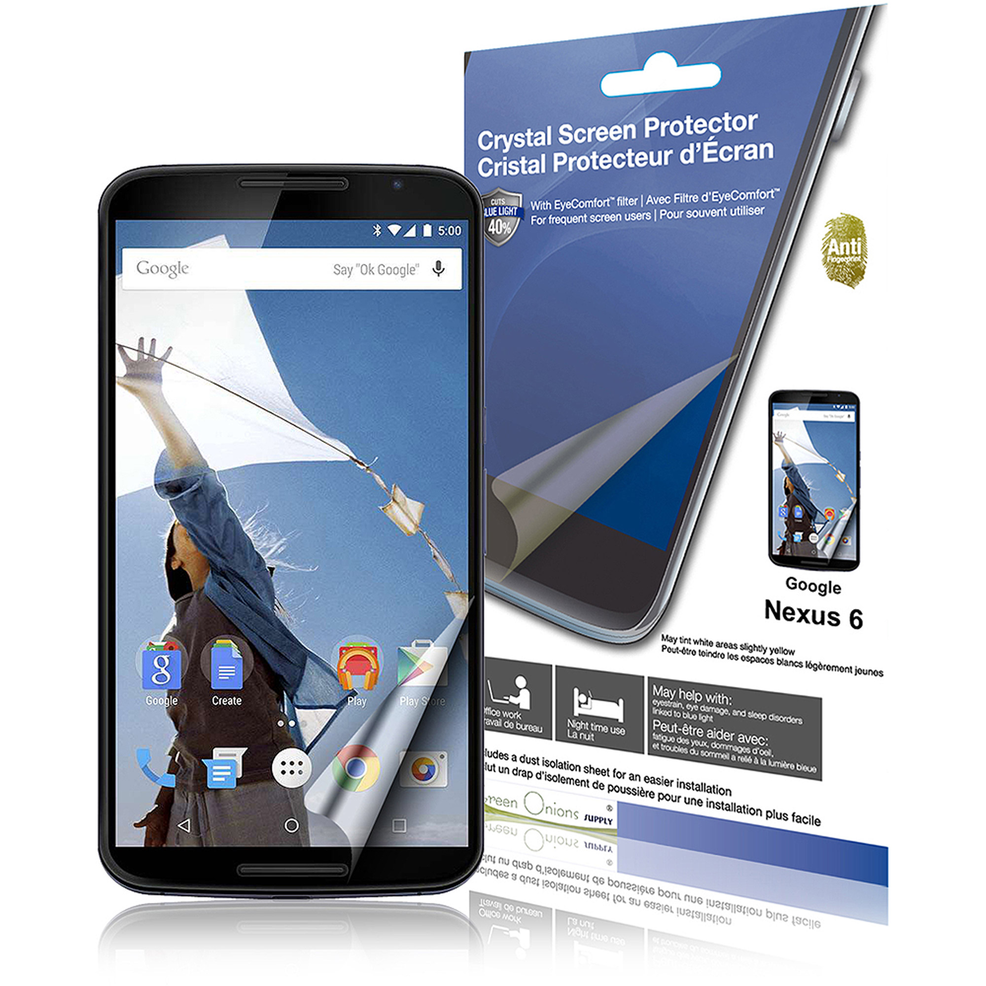 "Green Onions Supply EyeComfort AF Screen Protector for 6"" Google Nexus 6, Glossy"